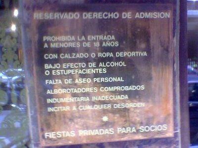 DERECHO DE ADMISION