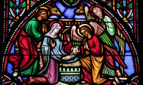 Nativity Scene on Christmas. This window was created in 1866, no property release is required.