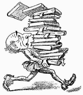 Caricatura hombre con libros