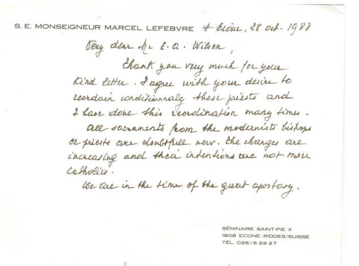 Carta M. Lefebvre a EQ Wilson