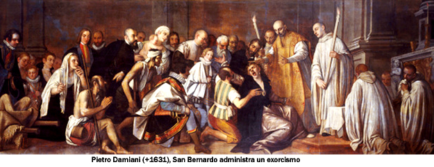 St Bernard Exorcising the Devil. By Pietro Damini (1592-1631). Oil on canvas, 17th century. Church of San Domenico, Chioggia, Italy