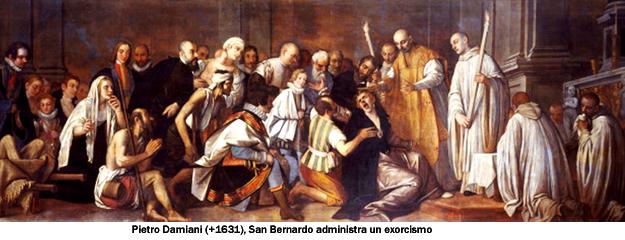 St Bernard Exorcising the Devil. By Pietro Damini (1592-1631). Oil on canvas, 17th century. Church of San Domenico, Chioggia, Italy