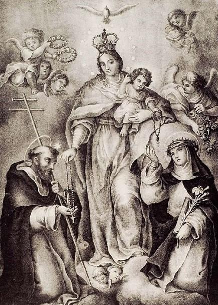 Valencia - santo domingo de guzman virgen rosario santa catalina grabado pascual y abad bib val nicolau primitiu grab294